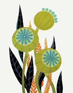 Items similar to Olive & Teal Poppy Pods - Fine Art Print on Etsy Art And Illustration, Art Illustrations, Art Floral, Botanical Art, Collage Art, Flower Art, Folk Art, Modern Art, Art Projects