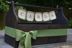 Wedding card holder box / wedding crate - your choice of colored ribbon. $65.00, via Etsy.