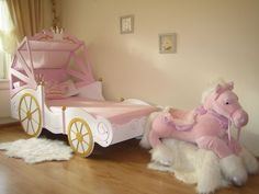 Horse drawn carriage bed✨So cute! Baby Bedroom, Baby Room Decor, Nursery Room, Girls Bedroom, Nursery Themes, Princess Bedrooms, Princess Room, Pink Princess, Disney Princess