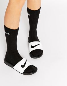Image 1 ofNike Benassi Just Do It Black & White Slider Sandals