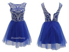 Short royal blue homecoming dresses on sale, sleeveless scoop beading short homecoming dresses/prom dress/party dress 8495 on Etsy, $110.99