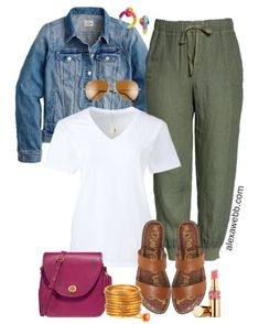 Plus Size Linen Joggers Outfit with white t-shirt, denim jacket, flat sandals, and crossbody bag - Alexa Webb Mode Outfits, Short Outfits, Summer Outfits, Casual Outfits, Fashion Outfits, Fashionable Outfits, Fashion Pants, Fashion Tips, Pantalon Vert Olive