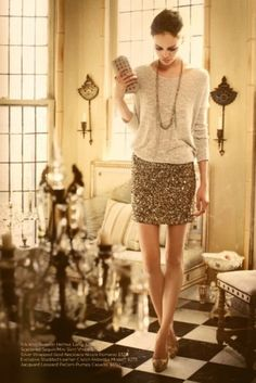 Gold sequin skirt with grey slouchy fine knit