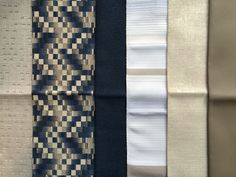 Travertine 07; Abstract Chevron 09; French Crepe 11; Sun Salutation 08 (privacy curtain); Patina 01; Whim 13.