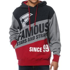 947d71765c60 Famous Stars   Straps Statement Grey   Red Pullover Hoodie