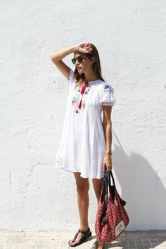 What to Wear With a Little White Dress - embroidered white dress