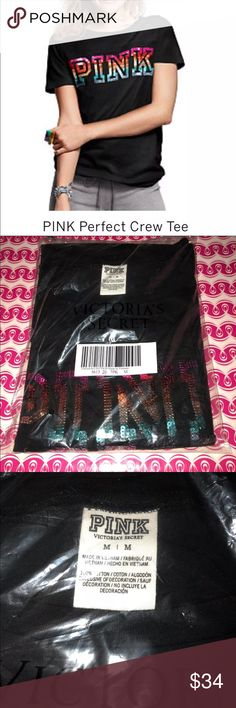 VS Pink short sleeve tee DESCRIPTION: VS pink bling shirt. Color: Black with Rainbow bling sequence. Size: (M) brand new never been used, in original online packaging.   *RULES* *PLEASE READ INFO & PROFILE  *NO HOLDS *NO MODELING *ABSOLUTELY NO TRADESS ️*️LOWBALLS WILL BE DELETED *️RUDE COMMENTS WILL BE BLOCKED *DO NOT SHIP ON WEEKENDS Victoria's Secret Tops Tees - Short Sleeve