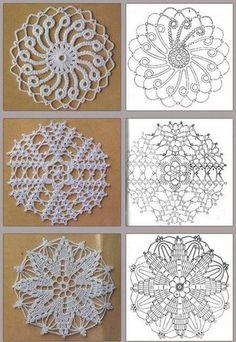 Preciosa colección de motivos circulares tejidos con ganchillo, para reutilizar los sobrantes de lana y hacer lindos almohadones, mantas y Crochet Doily Patterns, Crochet Chart, Crochet Squares, Thread Crochet, Filet Crochet, Crochet Doilies, Crochet Flowers, Crochet Lace, Crochet Stitches