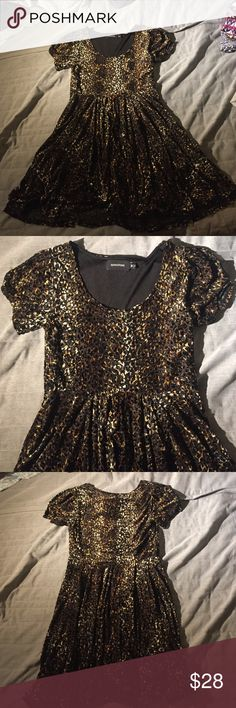 Urban outfitters leopard print velvet a-line dress A-line style. Super comfortable material in a cute leopard print. Size medium and fits true to size. In perfect condition, maybe wore twice. Perfect for the holiday season! Enjoy! Urban Outfitters Dresses Mini