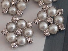 Pearl and Rhinestone Silver Metal  Buttons 20 Pieces  by zzlaca, $24.99