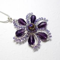 Purple Flower Pendant Necklace Wire Wrapped by AnnaWireJewelry, $39.00