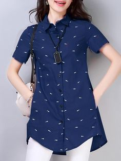 Turn Down Collar Patchwork Printed Linen Blouses fashion fashion fashion fashion fashion fashion fashion fashion Women's Fashion Dresses, Girl Fashion, Fashion Edgy, Fashion Spring, Fashion Styles, Kurti With Jeans, Indian Designer Outfits, Linen Blouse, Printed Linen