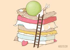 The Princess and the Pea by Hans Christian Andersen Hans Christian, Funny Illustration, Creative Illustration, Graphic Illustrations, Princess And The Pea, Modern Metropolis, Cant Sleep, Mehendi, Oeuvre D'art
