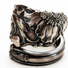 Extremely Art Nouveau Spoon Ring Wild Poppy Sterling by Spoonier, $78.50