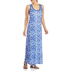 Revolution Women's Fashion Print Essential Tank Maxi Dress, Size: Medium, Blue