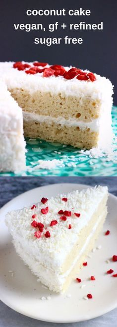 This Gluten-Free Vegan Coconut Cake is moist and fluffy, sweet and creamy and wonderfully coconutty! Refined sugar free.