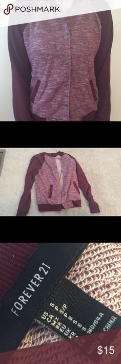 Forever 21 Sweater Comfy warm material with stretchy sleeves. Burgundy and white. Only worn twice and in perfect condition. Forever 21 Sweaters