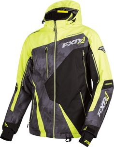 FXR Mens Hi-Vis/Charcoal Print/Black Snowmobile Mission Lite Jacket Snocross Mens Snowmobile Jackets, Snowmobile Clothing, Snowboarding, Skiing, Fox Racing, Winter Wear, Outdoor Gear, Motorcycle Jacket, Sled