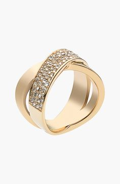 Captivated by this sparkly Michael Kors crisscross ring.