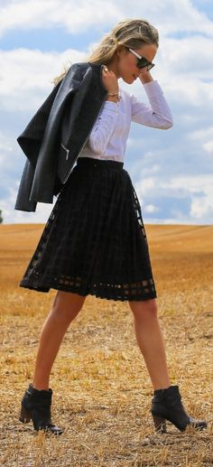 black leather cole haan cross strap ankle booties, lattice lace midi skirt, white button down shirt + leather and pinstripe jacket     @nordstrom