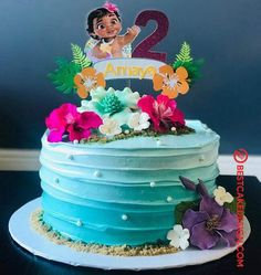 50 Most Beautiful looking Moana Cake Design that you can make or get it made on the coming birthday. Moana Birthday Party Theme, Luau Birthday Cakes, Moana Themed Party, Hawaiian Birthday, Moana Party, Birthday Cake Girls, Luau Party, 2nd Birthday Parties, Hawaiian Theme