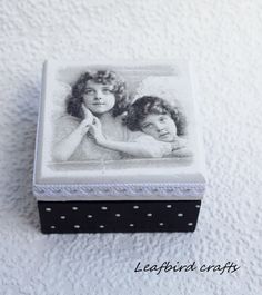 Decoupage mini box Angels wooden box Accessories by Leafbirdcrafts Decorative Accessories, Decorative Boxes, Tooth Box, Decoupage Box, First Tooth, Wooden Boxes, Christening, Jewelry Box, Angels