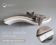 Cat shelf, wall-mounted cat shelf, WHITE curved shelf, cat furniture, soft LIGHT GREY pillow, floating cat shelves, cat perch, cat pillow