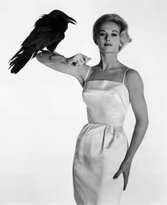 Edith Head's costume for Tippi Hedren in The Birds directed by Alfred Hitchcock As a teenager this film scared me so much that even now I don't like flocks of birds. Tippi Hedren, Vintage Hollywood, Hollywood Glamour, Classic Actresses, Actors & Actresses, Alfred Hitchcock The Birds, Tv Movie, Epic Movie, Saint Yves