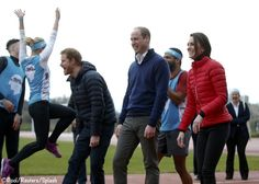 Will & Kate, the Duke & Duchess of Cambridge, and Prince Harry attend Heads Together training session for the London Marathon. Kate was wearing Perfect Moment's 'Mini Duvet II' jacket, high-waisted skinny jeans & Sweaty Betty/New Balance Exclusive Trainers. - 2/5/2017
