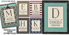 Vintage modern personalized family name prints on linen style colored backgrounds.!!!! Prints come 8x10 or 11x14