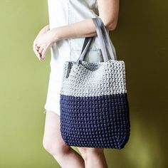 Custom Two Colored Crochet Tote Bag by KnitKnotKiev on Etsy
