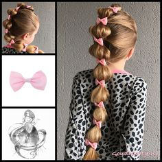 Simple but fun, a bubble braid with cute bows from the webshop www.goudhaartje.nl (worldwide shipping)   #hair #hairstyle #braid #bubblebraid #bow #hairstylesforgirls #hairaccessories #cute #fun #sweet #goudhaartje