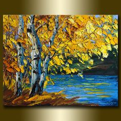 Autumn Landscape Painting Oil on Canvas Birch Tree by willsonart, $170.00