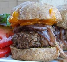 Bison (Buffalo) Burgers with Cabernet Onions and Wisconsin Cheddar.) (Note: For Keto, use lettuce leaves instead of hamburger buns. Bison Recipes, Beef Recipes, Cooking Recipes, Game Recipes, Hamburger Recipes, Snacks Recipes, What's Cooking, Recipies, Buffalo Burgers