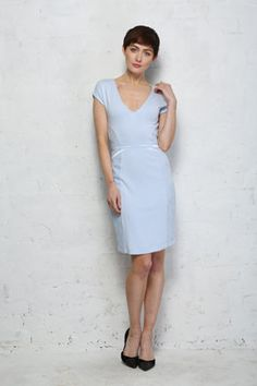 Save 50% - Was £70.00 - Now Only £35.00  Sophisticated, chic and icy cool, this baby blue French Connection Manhattan Lace Dress is the perfect companion to take to a special event.