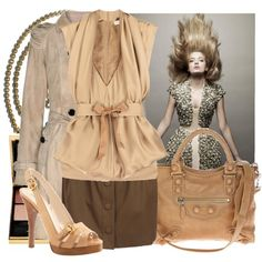 Brown skirt outfit 2