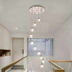House of Hampton Curve 10 - Light Unique / Statement Chandelier Stairwell Chandelier, Staircase Lighting Ideas, Stairway Lighting, Entry Lighting, Modern Chandelier Lighting, Chandeliers Modern, Ceiling Chandelier, Entryway Light Fixtures, Modern Light Fixtures