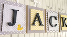 Nursery letters,Gray and yellow nursery,Gray and yellow Nursery Letters,Boys custom nursery letters,custom wood letters, boys letters