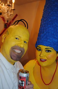 DIY Homemade Couple Costume -- Homer & Marge Simpson