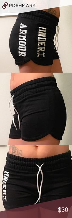 🖤Under Armour Shorts🖤 Sweat shorts, drawstring waist, and Under Armour written in white on the left side. I'm more of a medium so they are a bit fitted on me. The tag says they are semi fitted. They are a sweat pants material and I find they attract animal/stray hairs easily. Only looking to sell so sorry no trades. Under Armour Shorts