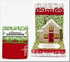 Frances Byrne using dies from the new Snippets collection. House Pop 'n Cuts insert, House Thinlits, Banner & Bordrs, Sassy Label Stitched Framelits. Pop Up Christmas Cards, Pop Up Cards, Christmas Crafts, Elizabeth Craft, Up House, Winter Cards, Halloween Cards, Card Tags, Birthday Cards