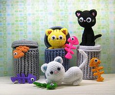 i love the idea of crocheting a garbage can