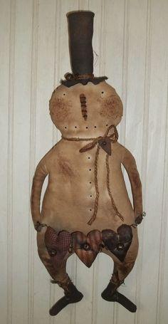 Primitive Grungy Snowman Doll & Garland Valentine's Hearts #Primitive