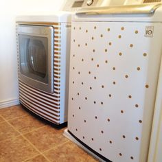 Washer Dryer Polka Dot and Stripes Vinyl Decal by Allfourwalls