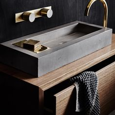 Zoe concrete and brass vanity basin $880 | Wood Melbourne | adapt for kitchen?
