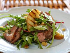Duck salad with grilled pear rocket and red wine vinaigrette