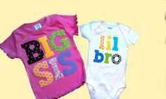 Big Sister Little Brother sibling shirts by PatchesandPuppies