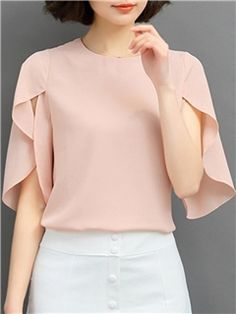 Discover thousands of images about Ericdress Solid Color Batwing Elegant Blouse Cheap Blouses, Blouses For Women, Women's Blouses, Sleeve Designs, Blouse Designs, Fashion Details, Look Fashion, Mode Outfits, Casual Outfits