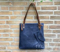 Denim blue leather tote. Blue office bag. Leather zippered tote bag
