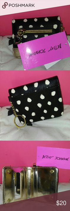 Small Betsey Wallet fits Perfect in Mirror Bag This adorable Betsy wallet has all necessary room, including a mirror of its own, but no extra frills other than that so it fits perfectly inside the hand held mirror bag! It's almost like they were made to go together! Betsey Johnson Bags Wallets